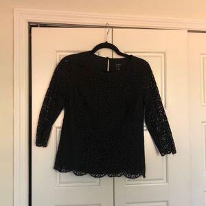J Crew Factory Lace Black 3/4 length shirt size 0